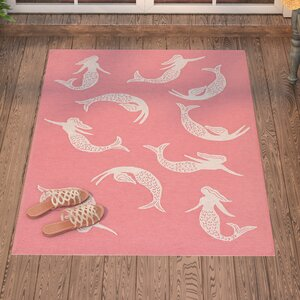 Northfield Mermaids Handmade Water Resistant Coral Indoor/Outdoor Area Rug