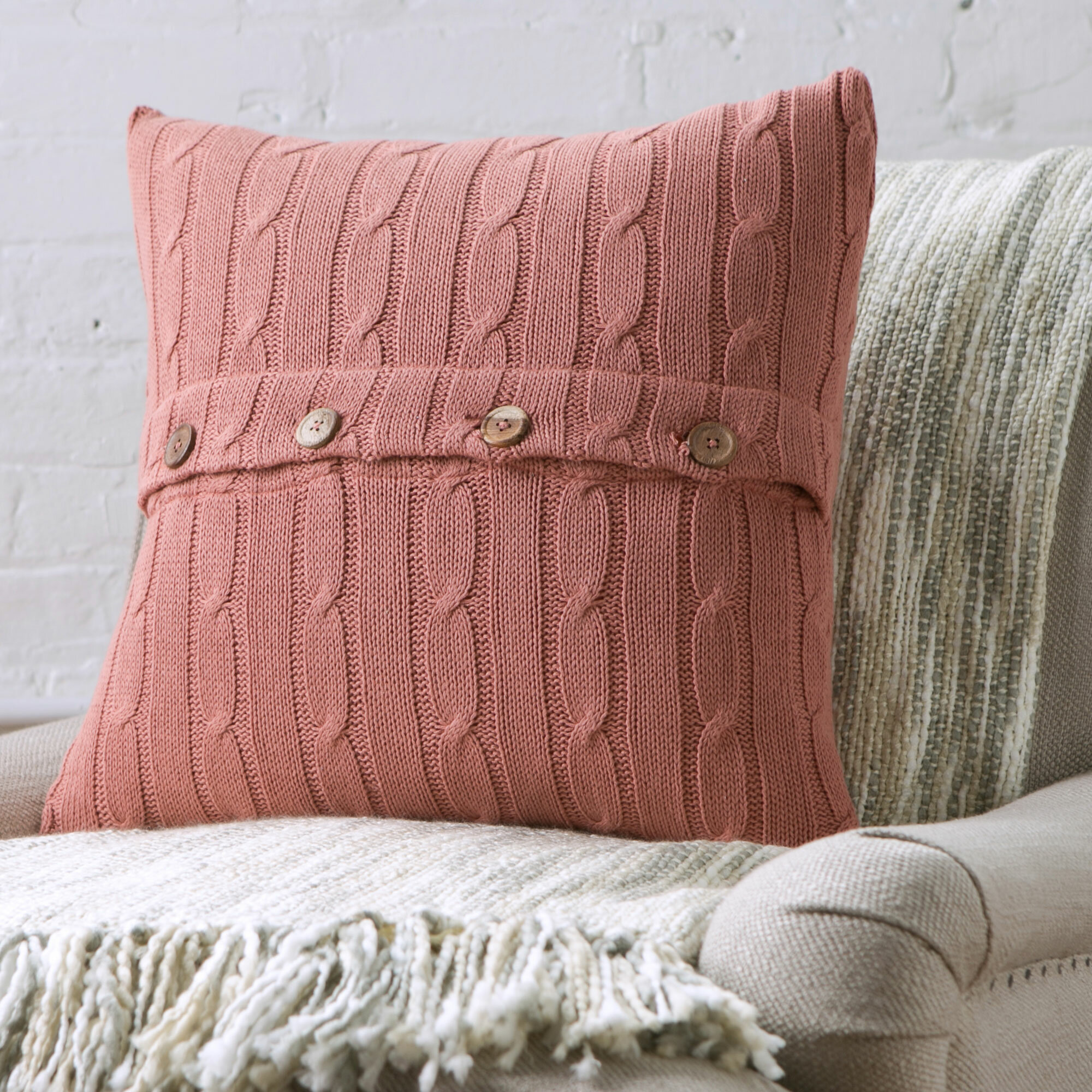 Harrietstown Cable Knit 100 Cotton Throw Pillow Reviews Birch  ~ Red Throw Pillows For Sofa