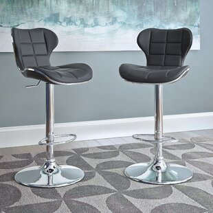 Carty Adjustable Height Swivel Bar Stool (Set of 2)