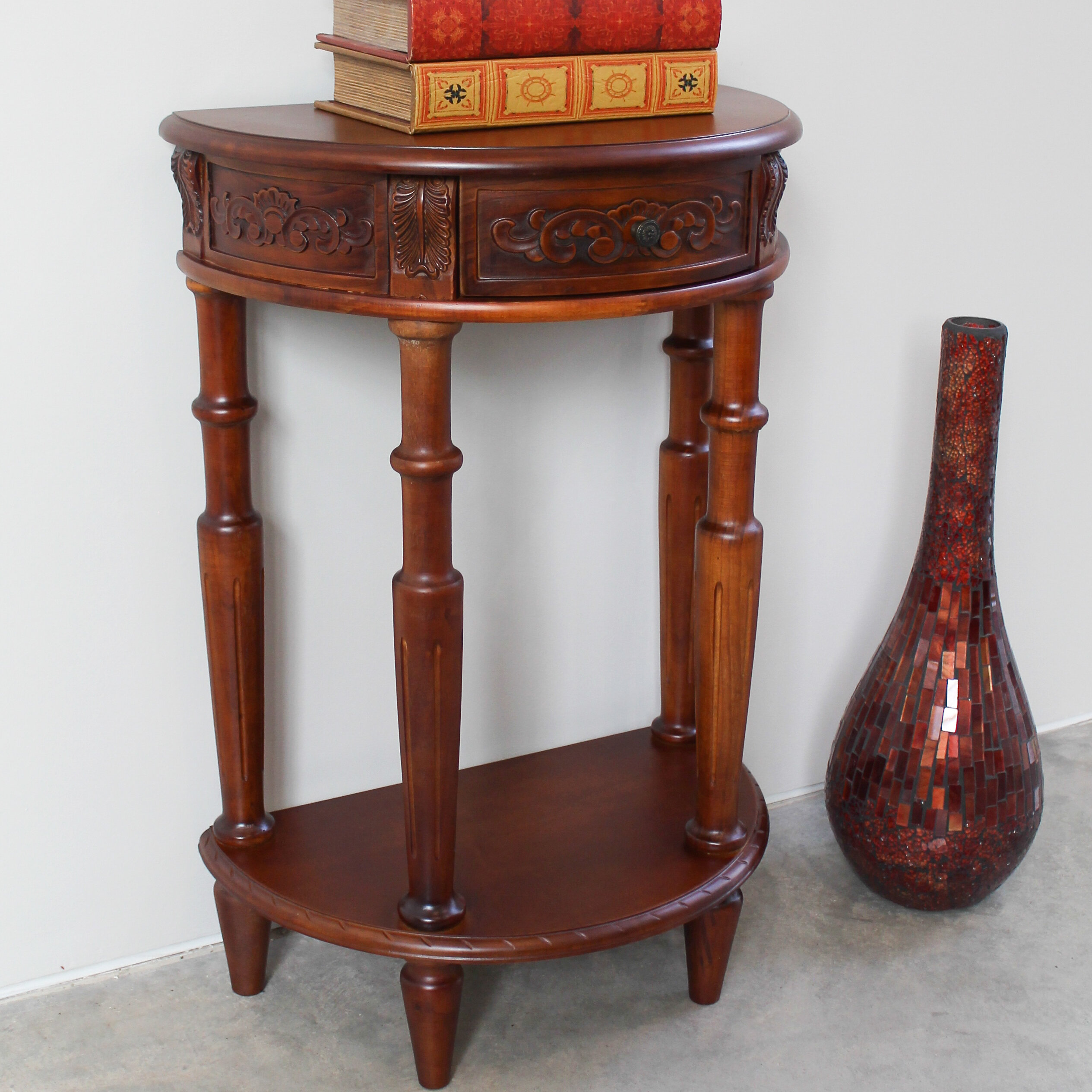 International Caravan Windsor Hand Carved Half Moon Console Table U0026 Reviews  | Wayfair