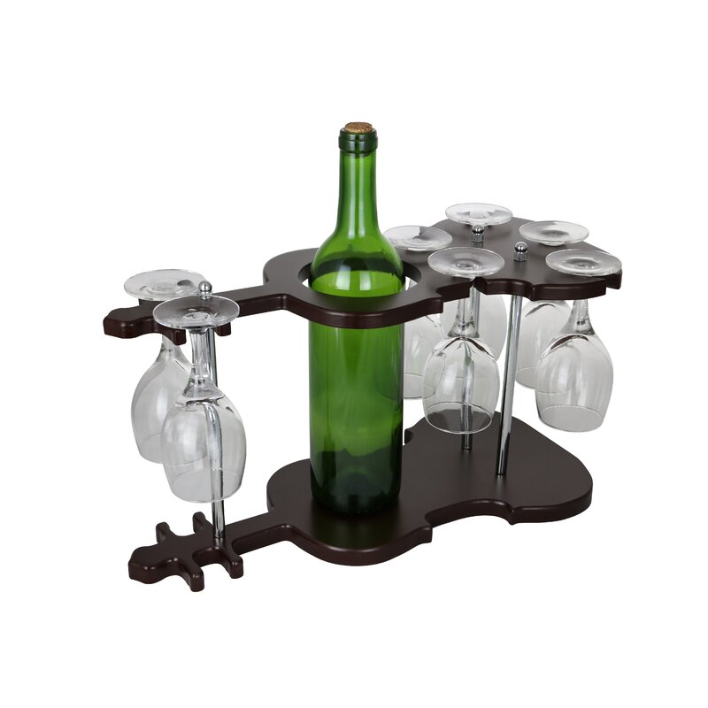 Wine Bodies Guitar Shaped Wooden Glass Holder Display 1 Bottle
