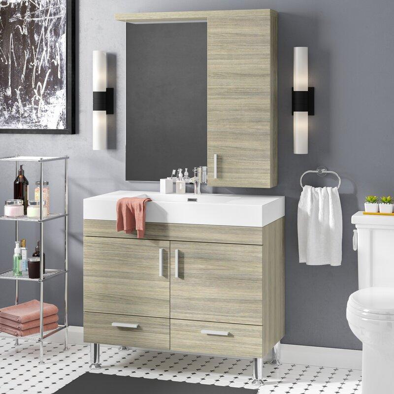 Waldwick 36 Single Modern Bathroom Vanity Set With Mirror