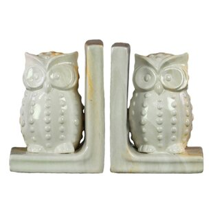 Ceramic Owl Figurine Bookends (Set Of 2)