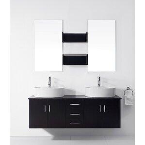 double bathroom sink. Camren 59  Double Bathroom Vanity Set with White Top and Mirror Vanities You ll Love Wayfair
