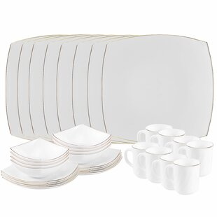 Platinum Opal 32 Piece Gl Dinnerware Set Service For 8