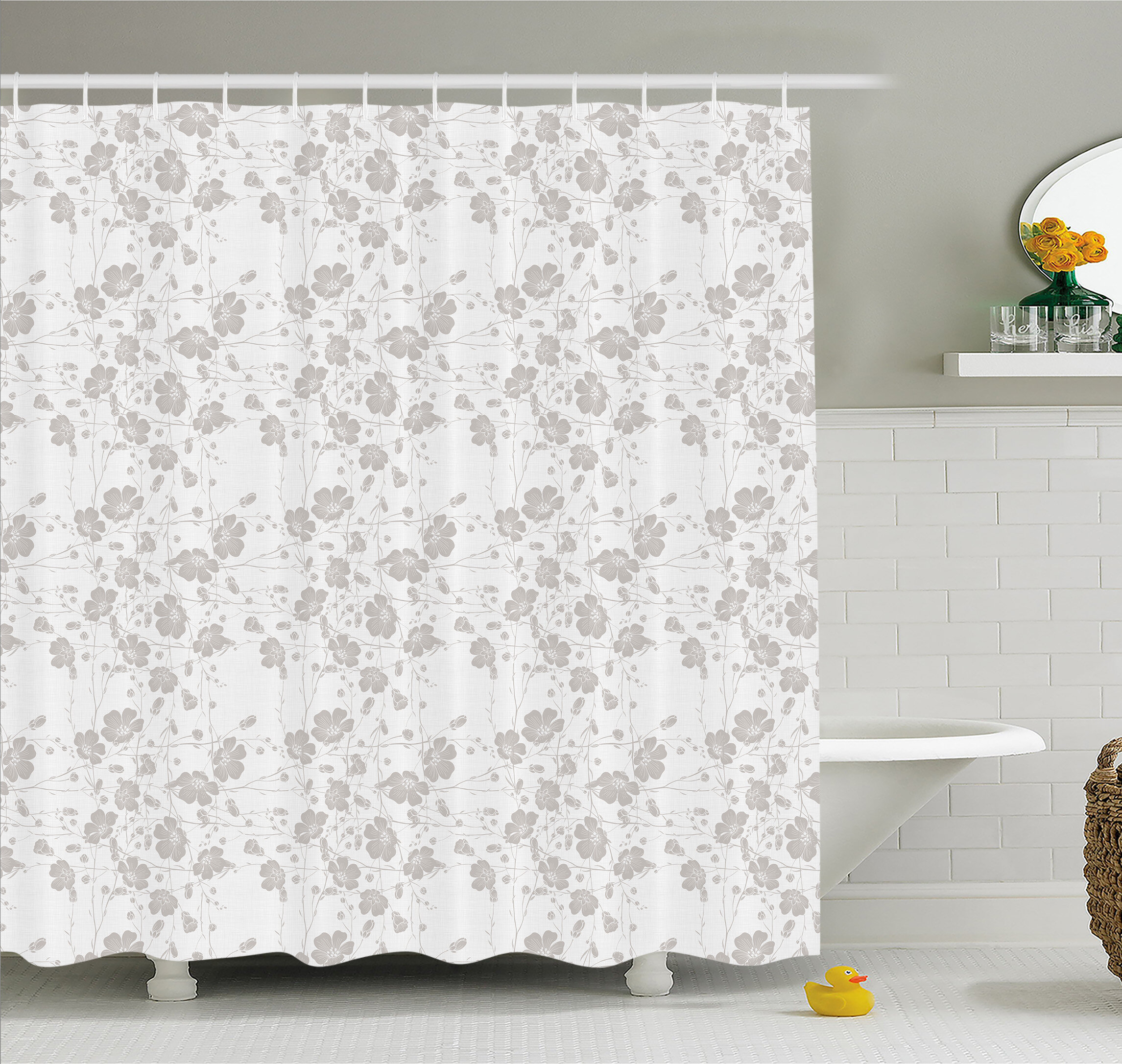 Natural Beauty Flower Hand Drawn Peonies Bouquet Florets Romantic Feminine Home Decor Shower Curtain Set