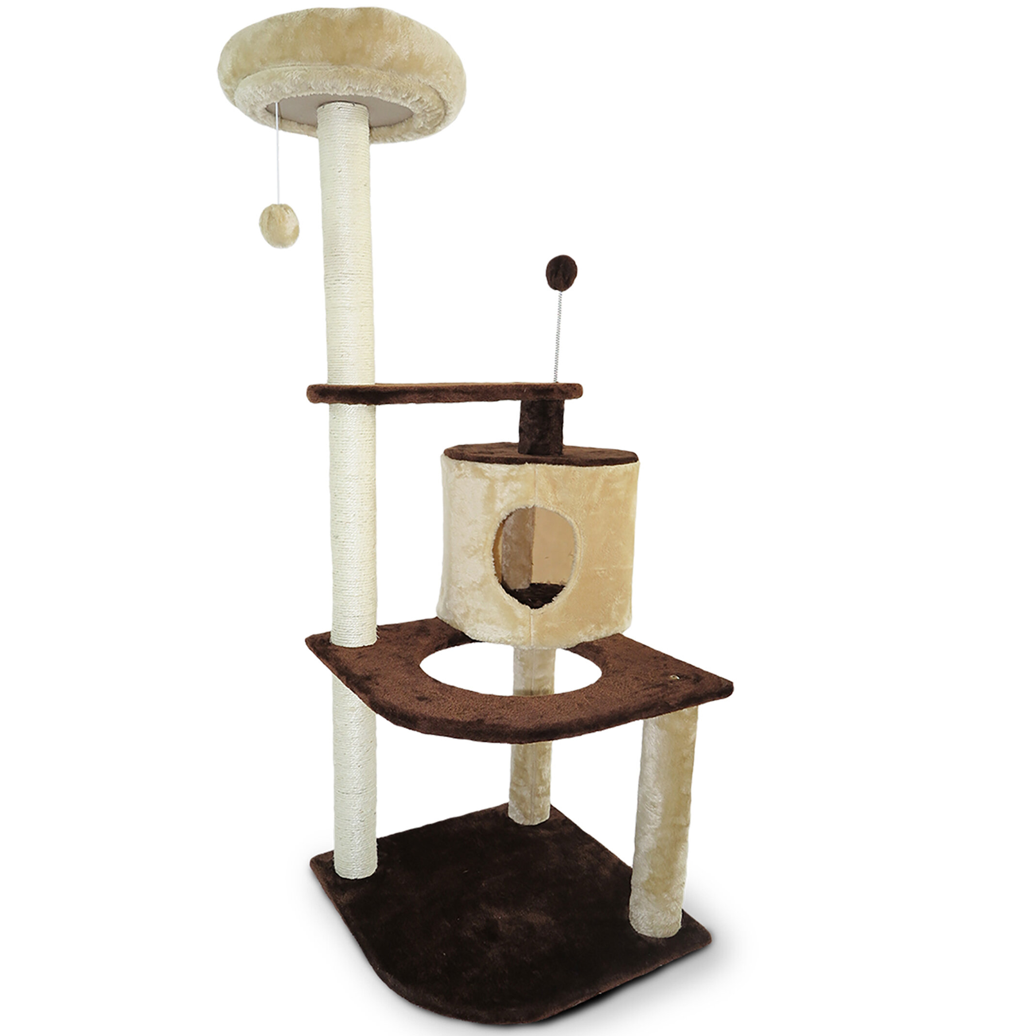 furniture post chocolate details with condo tree toys posts paper natural d petpals cat level rope inc and s teasing group extra three scratching perches page for covered cream reign product