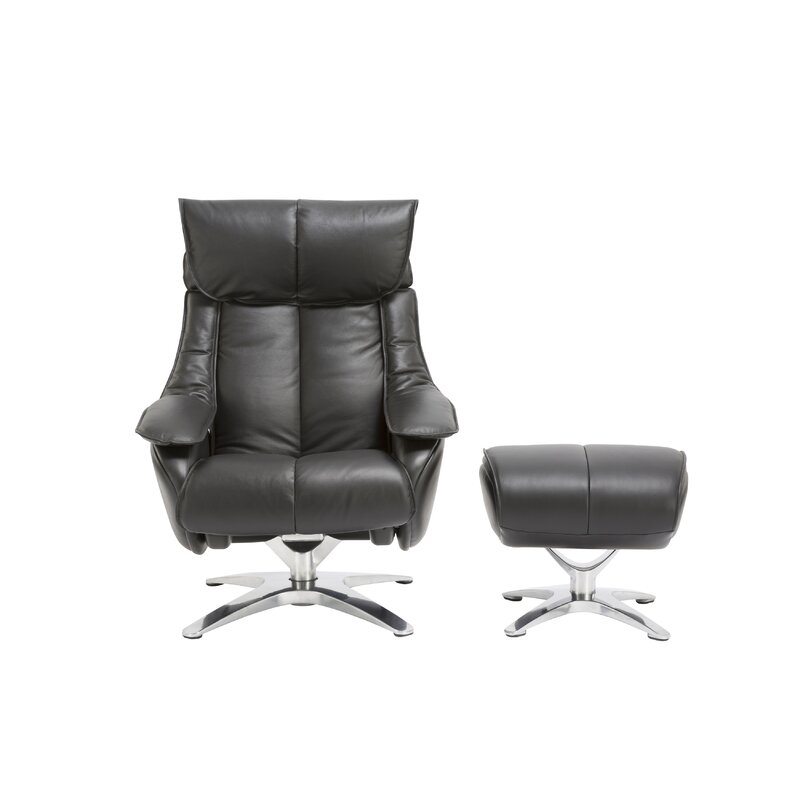 orren ellis kagan leather manual swivel recliner with ottoman wayfair
