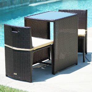 kendal patio furniture wicker 3 piece bistro set w glass top table 2 chairs