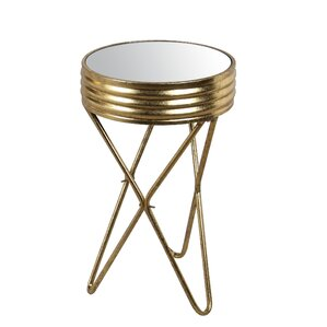 Natasha Small Iron Mirror End Table by Everl..