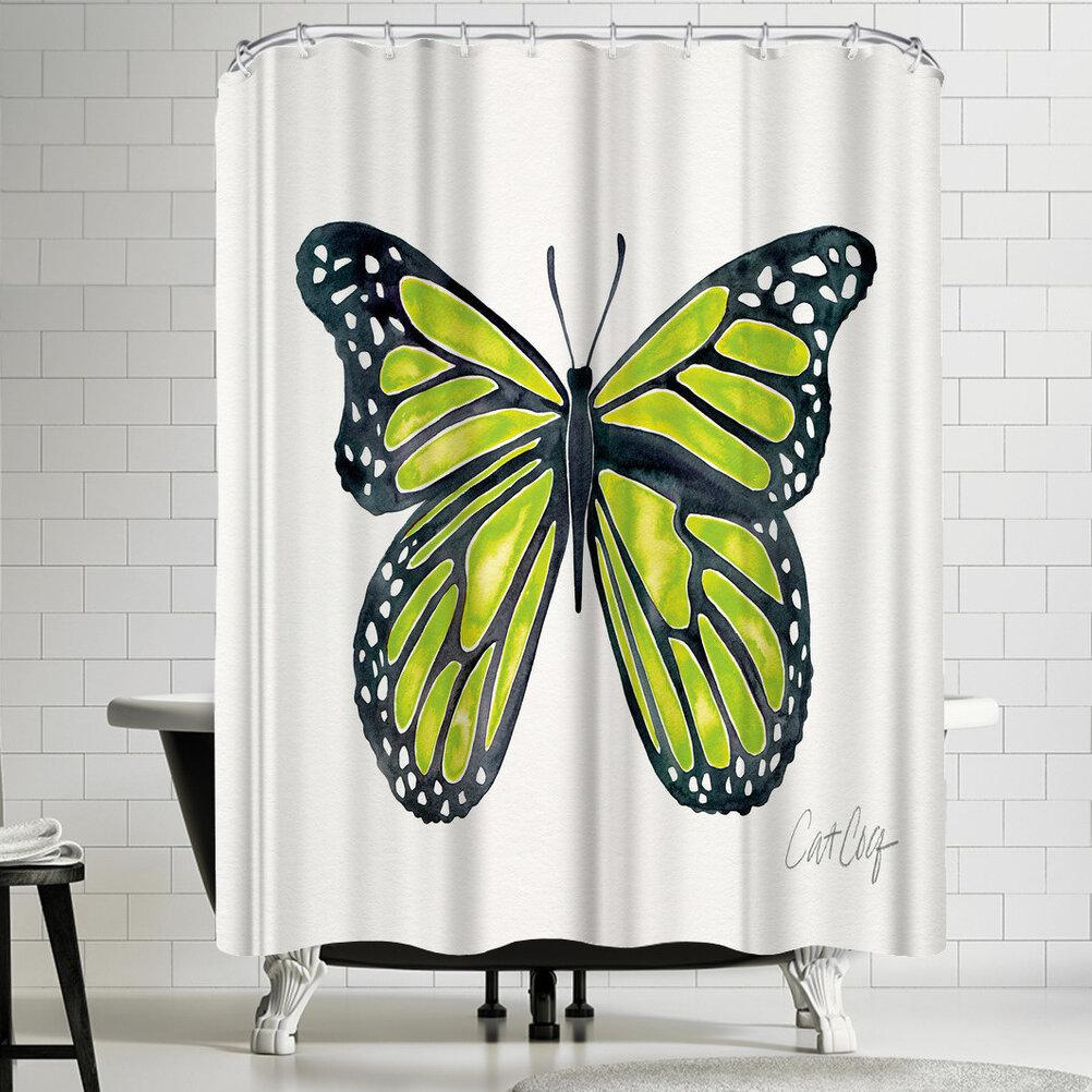 East Urban Home Lime Butterfly Shower Curtain | Wayfair