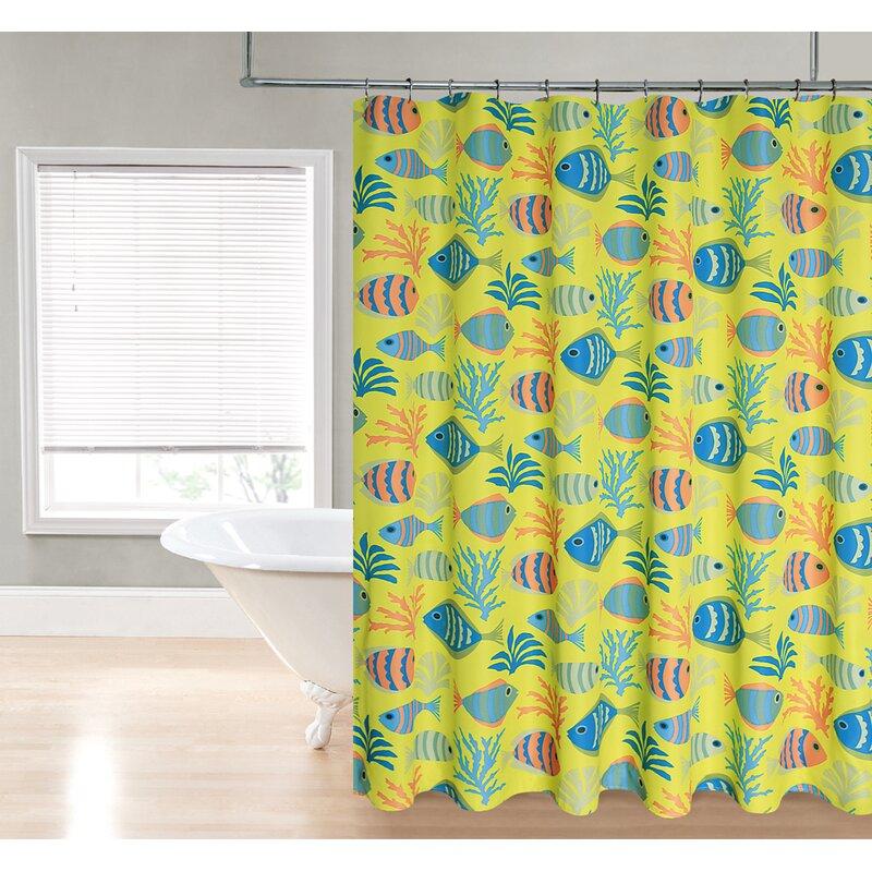 Fish Printed Fabric Shower Curtain