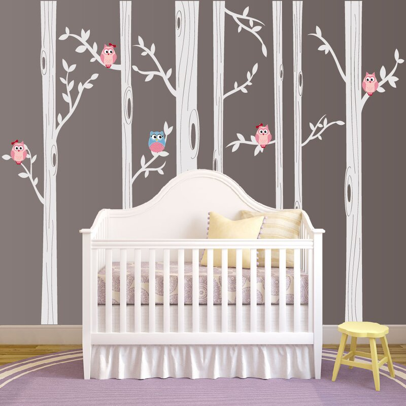 Nursery Birch Tree Wall Decal With Owl Birds Forest