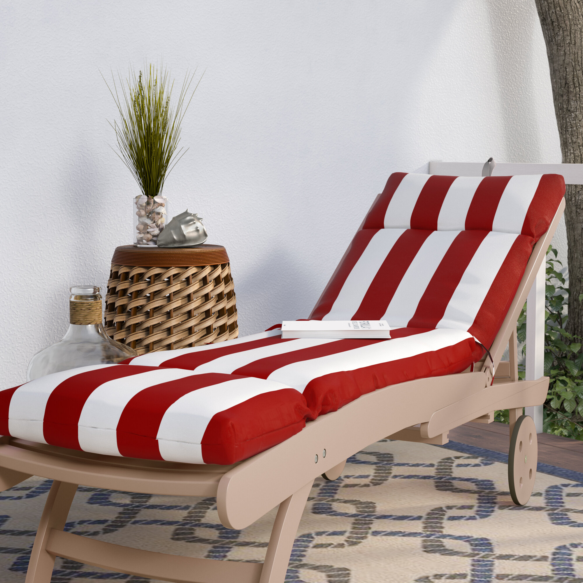 Striped Indoor Outdoor Chaise Lounge Cushion