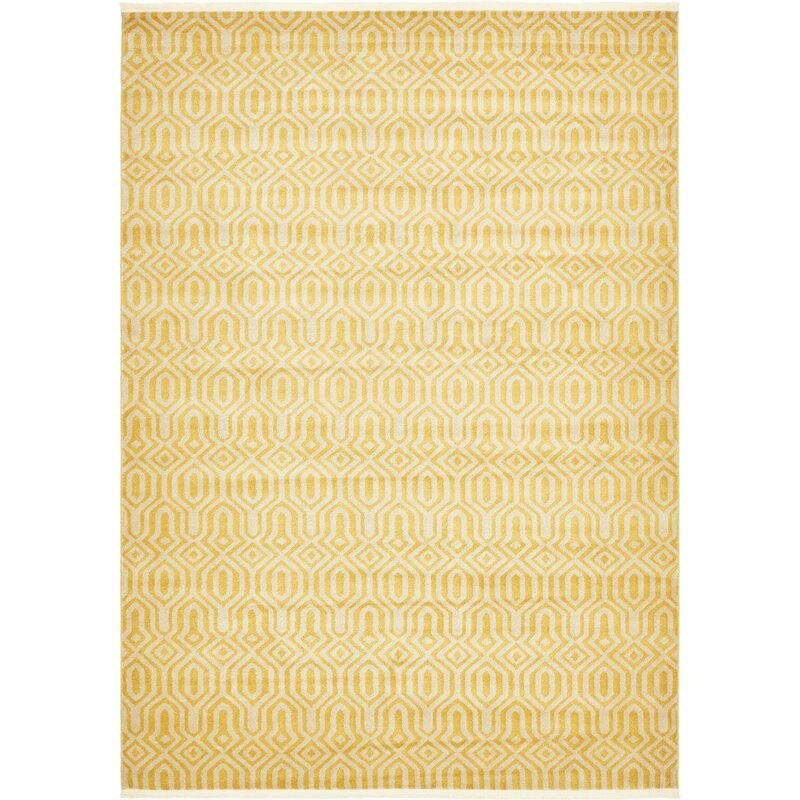 Bingaman Yellow Cream Area Rug