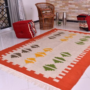 Inexpensive One-of-a-Kind Flaxville Border Handmade Kilim 5' x 6'7 Wool Off-White/Orange Area Rug By Isabelline