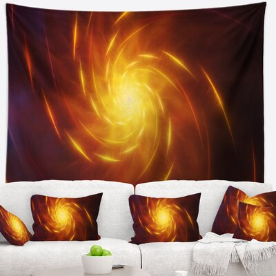 Abstract Yellow Whirlpool Fractal Spirals Tapestry East Urban Home