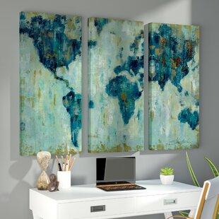 Piece World Map Canvas Art Youll Love Wayfair - 3 piece world map wall art