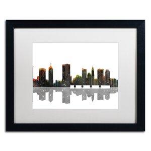 Trademark Art Columbus Ohio Skyline Framed Graphic Art