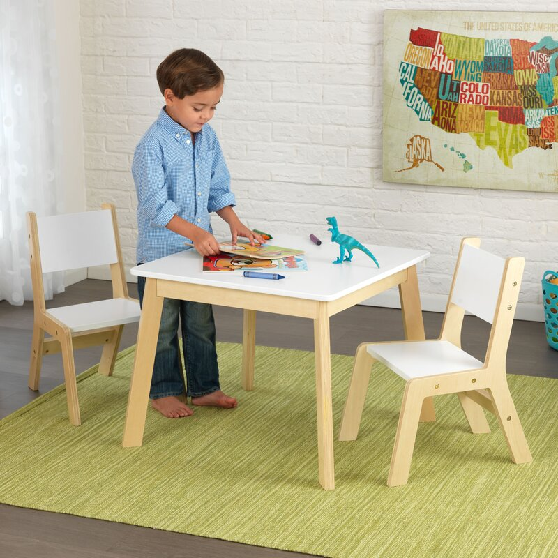 KidKraft Modern Kid\'s 3 Piece Square Table and Chair Set & Reviews ...