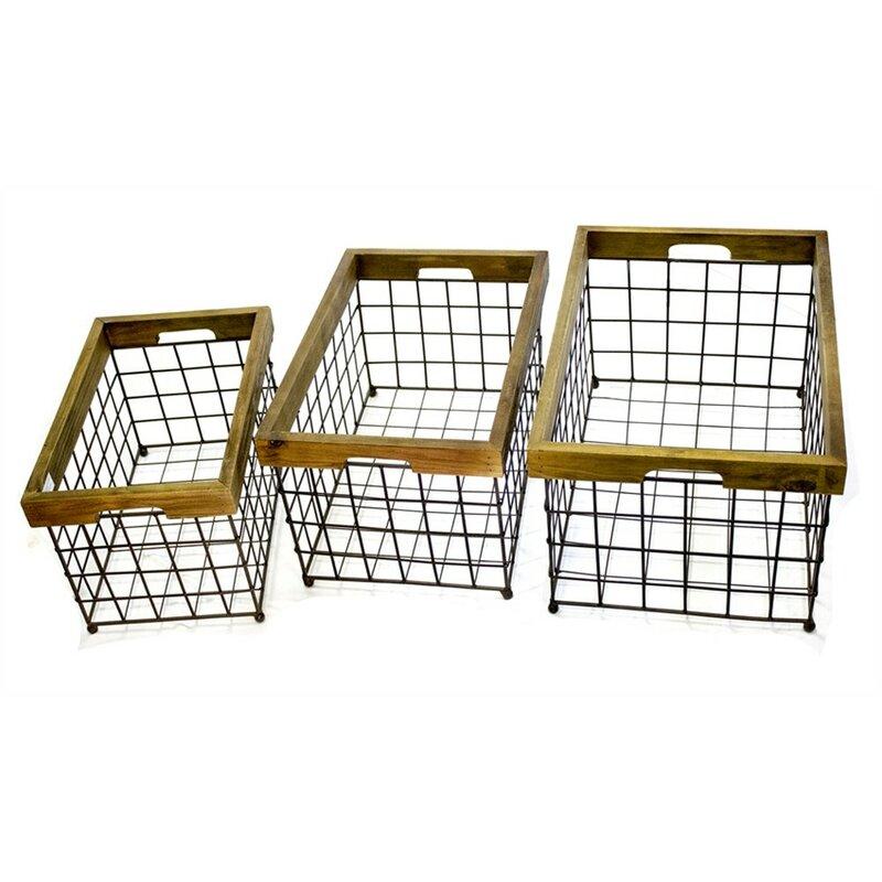 17 Stories 3 Piece Wire Basket Set