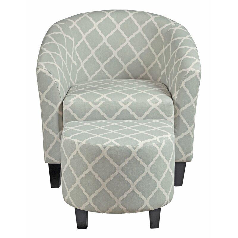 Merveilleux Allegra 2 Piece Upholstered Barrel Chair And Ottoman Set