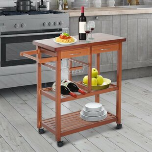 Hollard Kitchen Cart with Wood Top