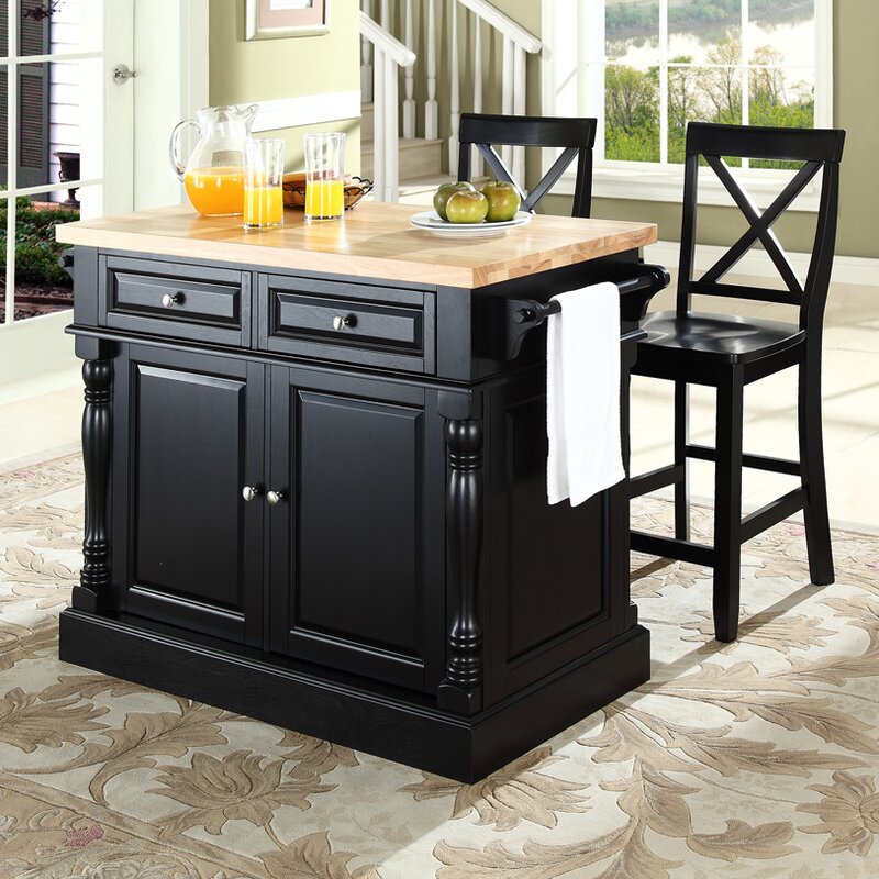 kitchen island set darby home co lewistown 3 piece kitchen island set with butcher block top reviews wayfair 1728