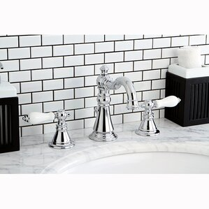 Beautiful American Patriot Double Handle Widespread Bathroom Faucet With ABS Pop Up  Drain