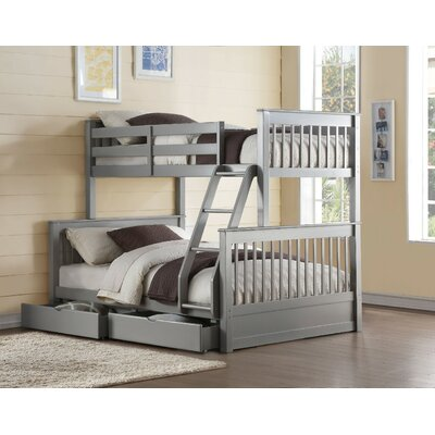 Orton Wooden Twin over Full Bunk Bed with 2 Drawers Harriet Bee