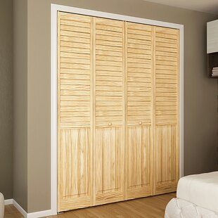 Louvered Wood Unfinished Plantation Bi Fold Door