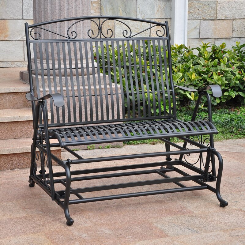 Delicieux Snowberry Iron Double Patio Glider Bench