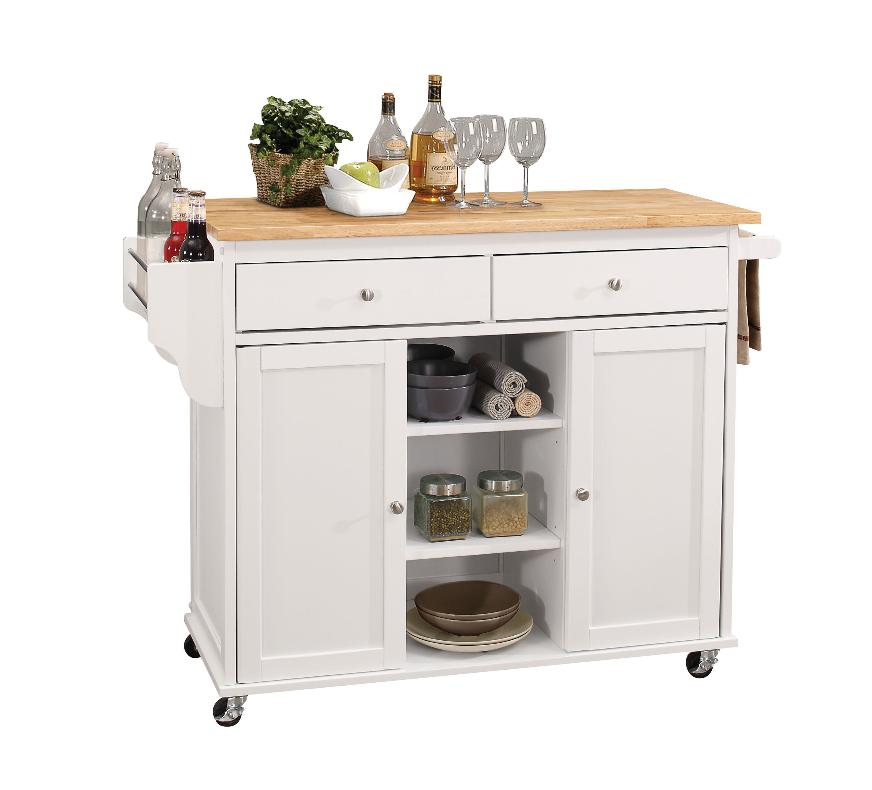 Brecht Kitchen Cart With Wood Top