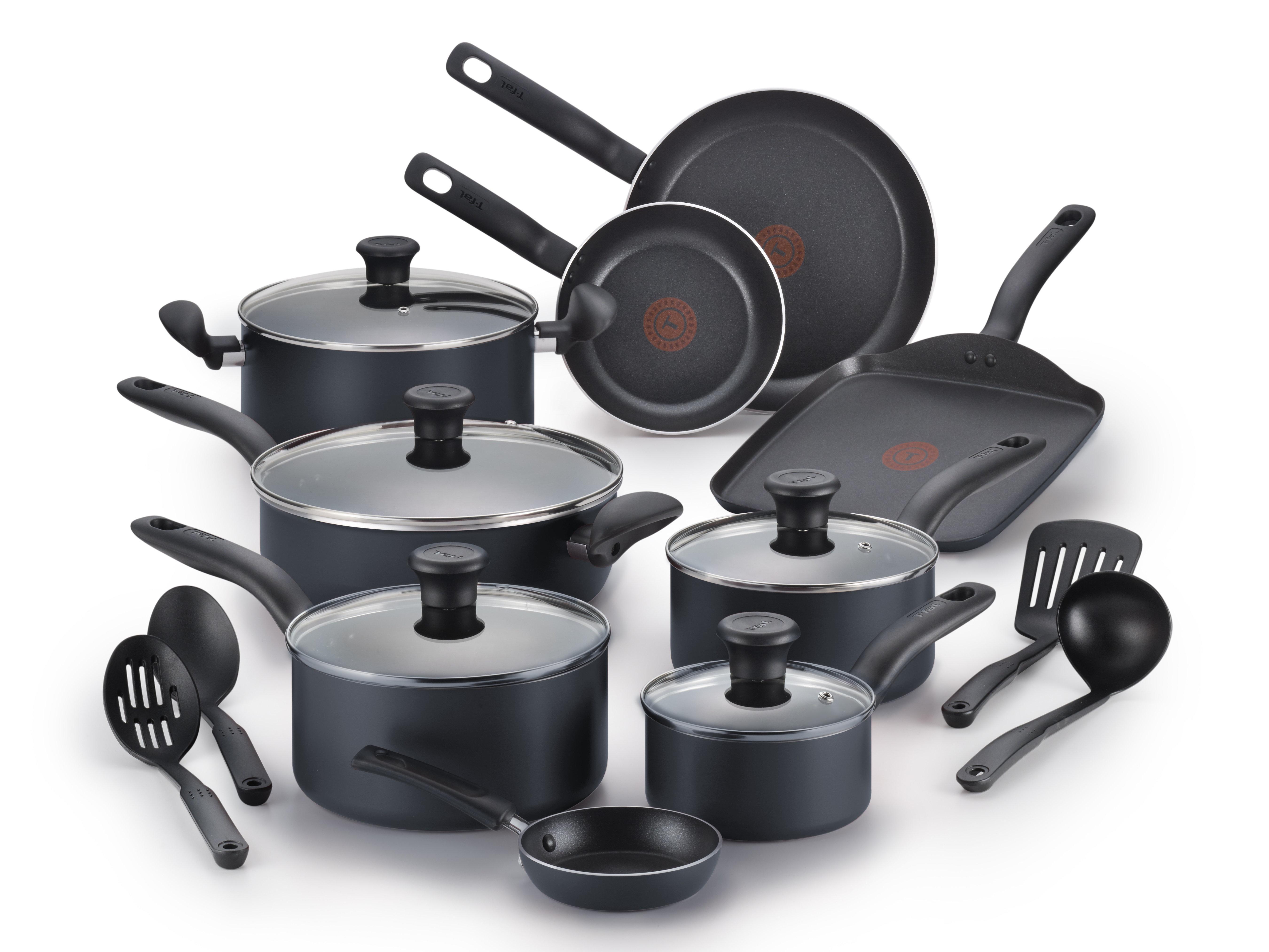 T Fal Initiatives 18 Piece Non Stick Cookware Set Reviews Wayfair