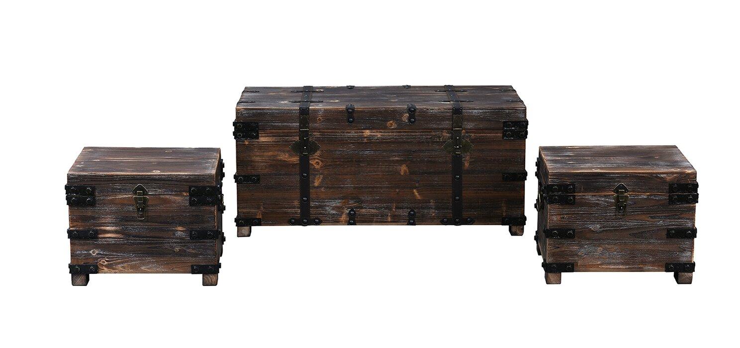 living room trunk. Boniface 3 Piece Distressed Real Wooden Living Room Trunk Set Loon Peak