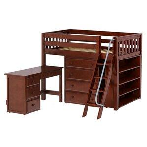 Katching3 Low Loft Bed with Storage by Maxtrix Kids