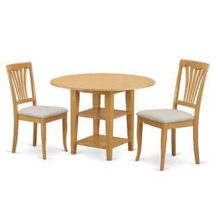 Tyshawn 3 Piece Drop Leaf Breakfast Nook Solid Wood Dining Set Modern