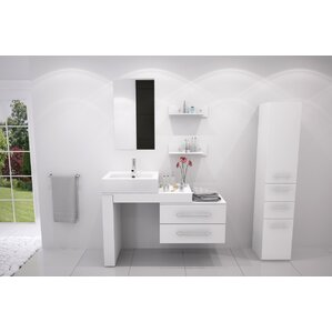 osborn 57 single wall mounted modern bathroom vanity set - Modern White Bathroom Cabinets