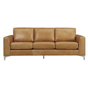 Shupe Leather Sofa by Mercury Row