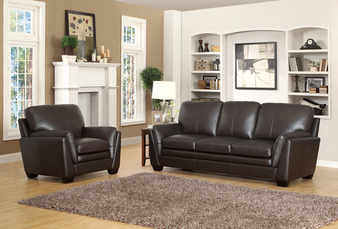 Whitstran 2 piece leather living room set reviews birch lane 2 piece leather living room set