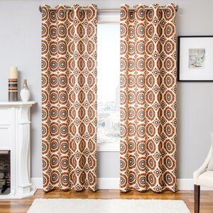 Fourate Geometric Semi-Sheer Grommet Single Curtain Panel