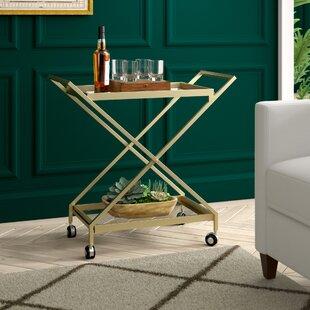 Gunnell Indoor Industrial Iron/Glass Bar Cart