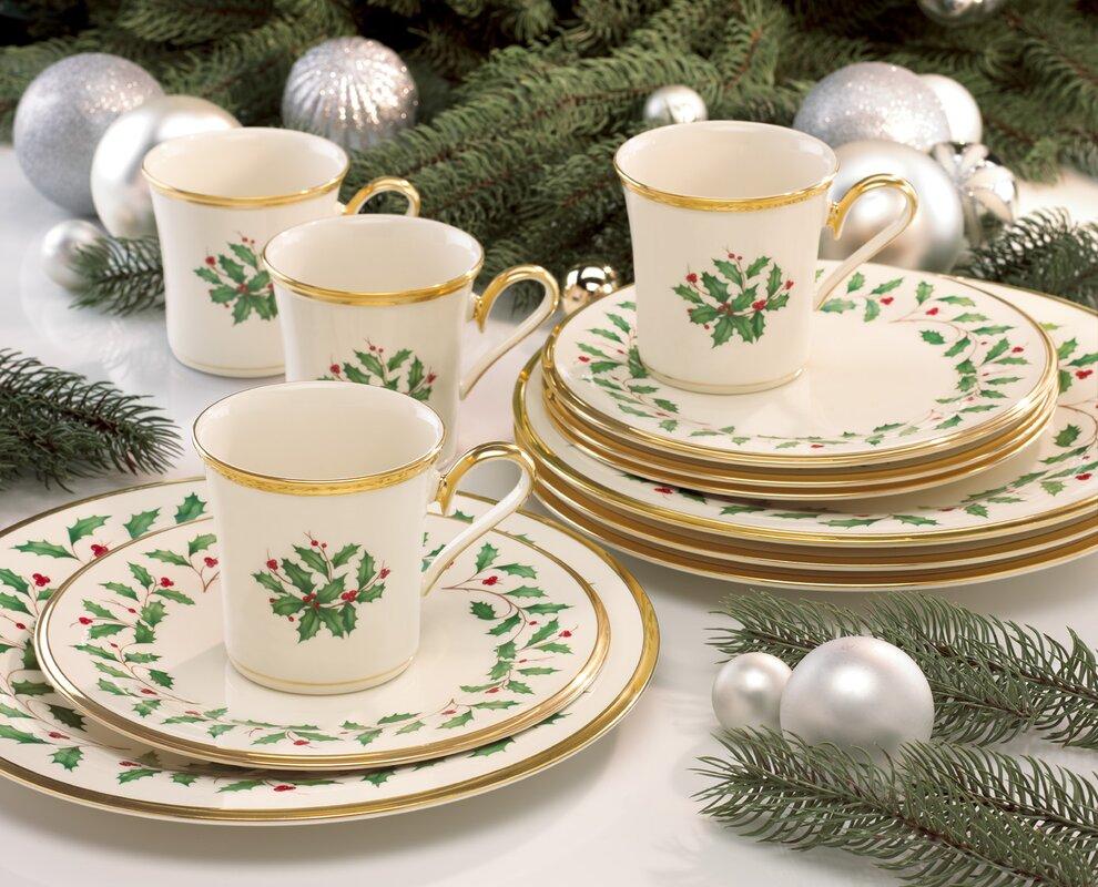 Lenox Holiday 12 Piece Dinnerware Set Service For 4 & Service For 12 Dinnerware Sets - Castrophotos