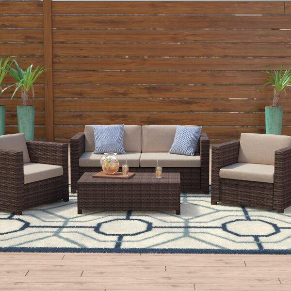 Mercury Row Kappa 4 Piece Rattan Sofa Set With Cushions