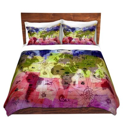 DiaNocheDesigns Whimsical World Map VI Duvet Set | Wayfair