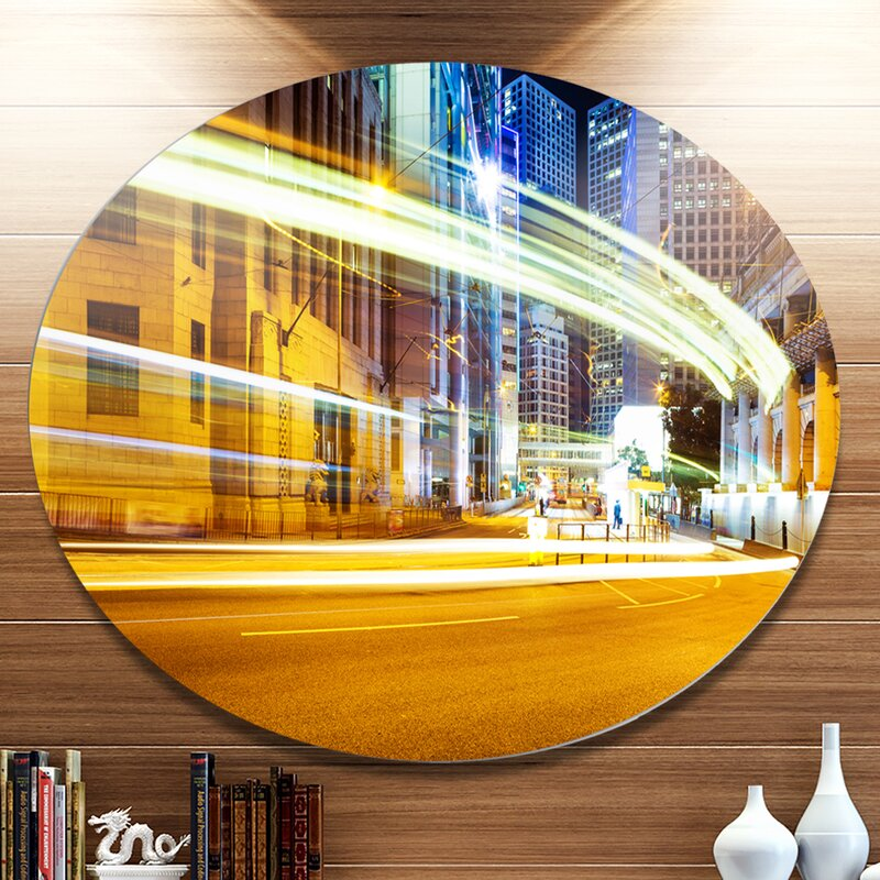 DesignArt \'Blur Motion Traffic Trail in Modern City\' Graphic Art ...