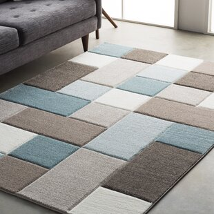 Mott Street Aqua Dark Brown Area Rug