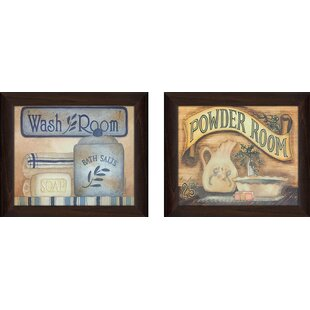Wash Powder Room 2 Piece Framed Wall Art On Canvas Set