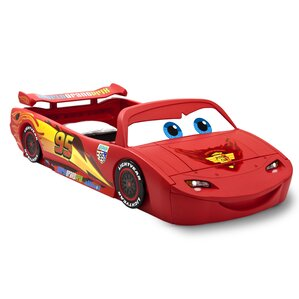 Disney/Pixar Cars Lightning Mcqueen Covertible Toddler Bed with Lights and Toy Box by Delta Children