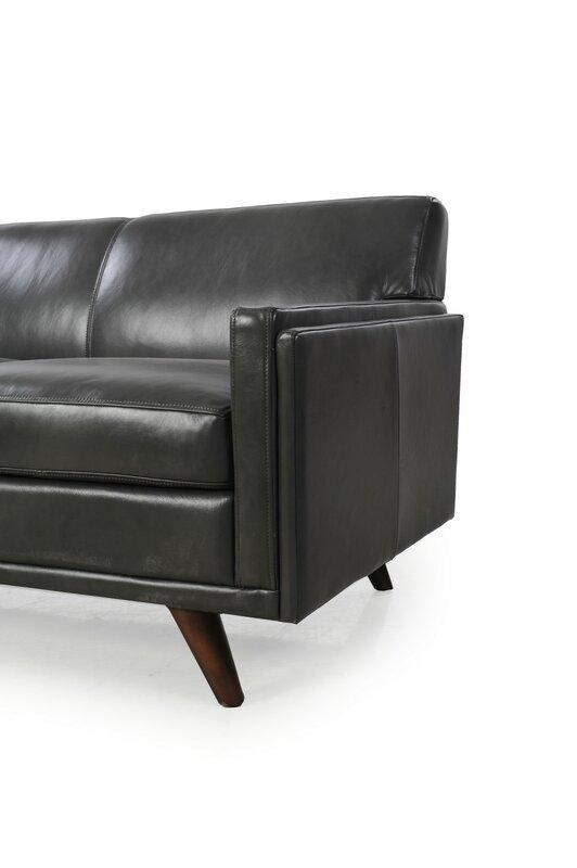 Charming Ari Mid Century Modern Leather Sofa